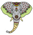 color elephants head in mehndi indian style vector image
