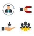 customer retention icon set flat style vector image vector image