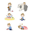 cute cartoon baby playing with toys and a dog vector image