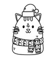 cute cat with scarf hat celebration merry vector image vector image