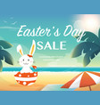easter summer salebunny on beach vector image vector image