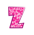 english pink letter z on a white background vector image vector image