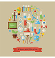 Flat Style Science and Education Objects Concept vector image
