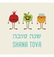 Funny hipster rosh hashana symbols happy new year vector image vector image