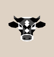 geometric cow head black and white bull vector image vector image