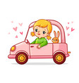 girl with a rabbit is riding a pink car vector image
