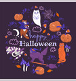halloween cats on a purple background graphics vector image