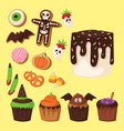 halloween cookie symbols of food night cake party vector image vector image