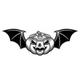 halloween pumpkin with bat wings black vector image