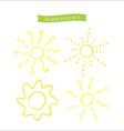 Hand drawn oil pastel sun set vector image