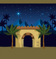 happy epiphany with desert mountains and palm vector image vector image