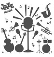 jazz musical instruments tools silhouette icons vector image