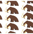 mammoth animal with fur and tusks seamless pattern vector image