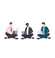 men in suit sits cross-legged with laptop vector image vector image