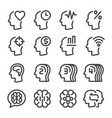 mind and brain line icon set vector image vector image