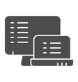 monitors with list solid icon lists on devices vector image vector image