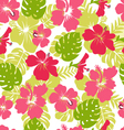 Pattern of tropical leaves and flowers hibiscus fl vector image