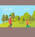 people walking outdoor healthy lifestyle vector image vector image