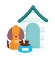 pet shop little dog sitting with house bowl bones vector image vector image