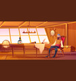 pirate captain interior ship cabin vector image