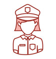 red contour of half body of faceless policewoman vector image
