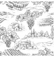 seamless pattern with grapes and rural scene vector image vector image