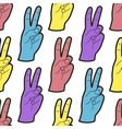 Seamless Pattern with Hands with Two Fingers Up vector image