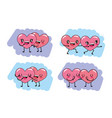 set cute hearts couple with arms and legs vector image vector image