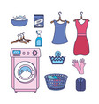 set laundry equipment to washing the clothes vector image vector image