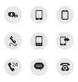 set of 9 editable phone icons includes symbols vector image vector image