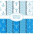 Set of blue marine geometric seamless pattern with vector image vector image