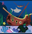 ship ghost shark and saw fish vector image vector image