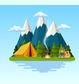 tent campfire mountains forest and water vector image