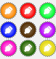 USB icon sign A set of nine different colored vector image vector image