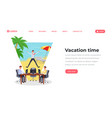 vacation time flat landing page template office vector image vector image