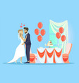 wedding celebration man woman couple in love vector image vector image