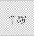 wind mill turbines electricity and solar panel vector image vector image