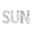 word sun for coloring decorative zentangle vector image vector image