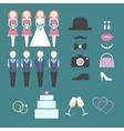 Vintage wedding set of design elements vector image