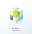 3D Cube green blue gray color vector image vector image