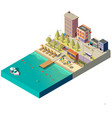 3d isometric beach hotels on boardwalk vector image