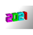 3d numerals 2021 made colorful toy plastic sign vector image vector image