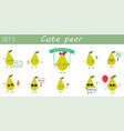 a set of ten nice green pear characters in vector image vector image