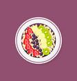 acai smoothie bowl with strawberries banana kiwi vector image vector image