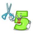 barber character number five at wooden door vector image vector image