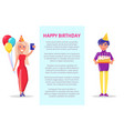 birthday party celebration man and woman cake vector image vector image