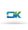 blue green ok o k alphabet letter logo vector image