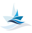 blue ship logo vector image