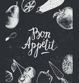 bon appetit poster banner black and white vector image