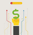 businessman pulls his hand towards the dollar vector image vector image